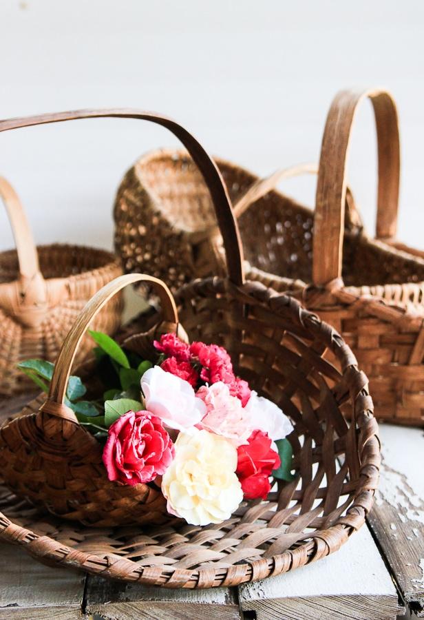 Several old handmade baskets.