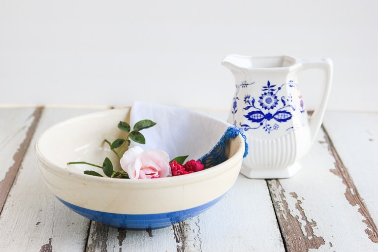 Vintage blue and white pitcher and bowl