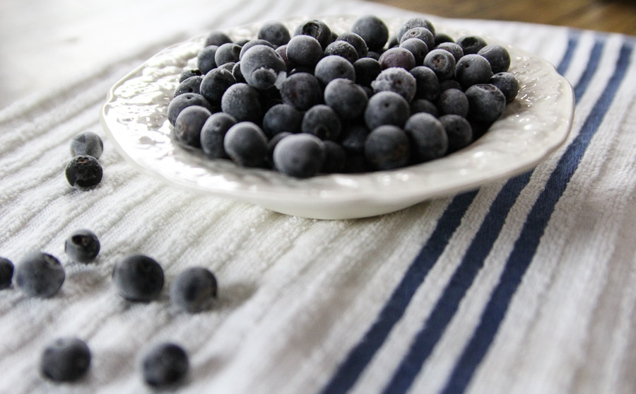 bowl of frozen blueberries