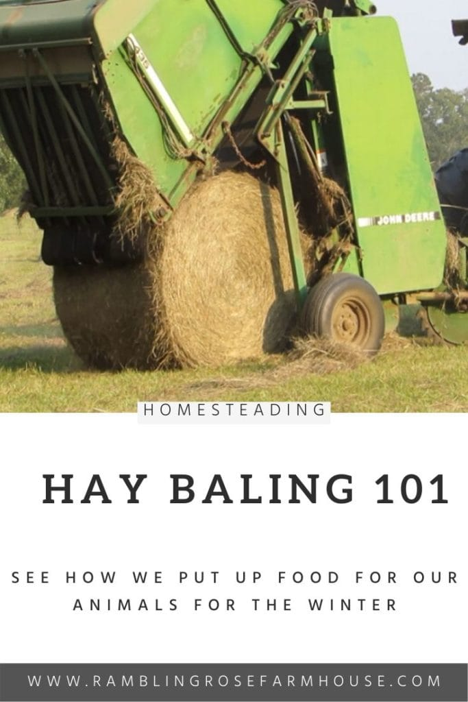 hay baler with a round bale of hay