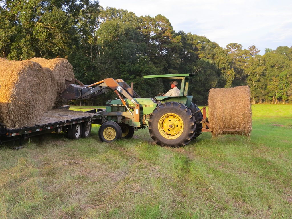 tractor loading hay to move from the field