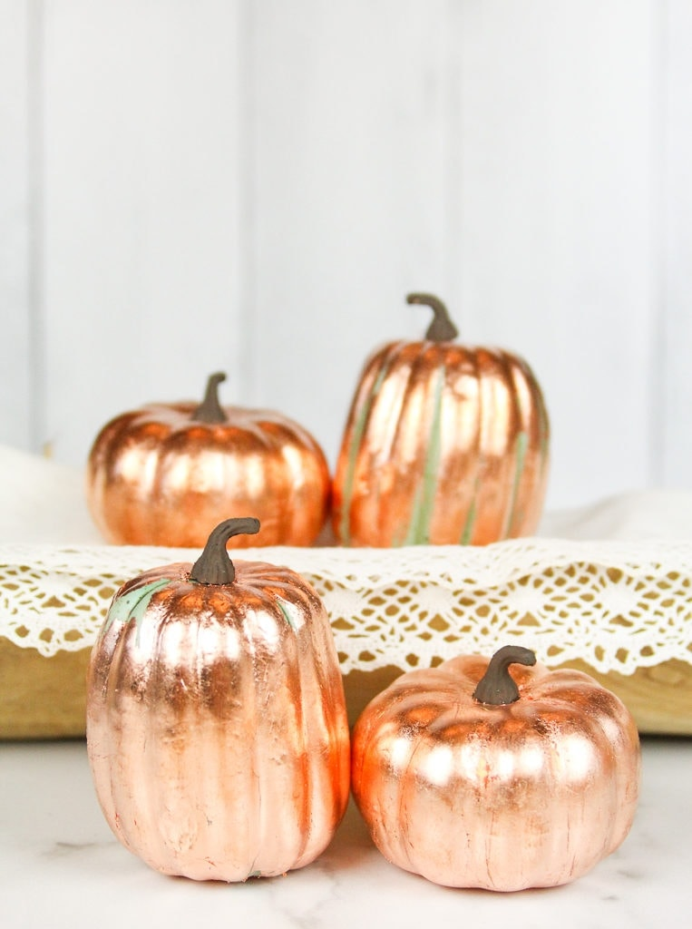 Showing what copper leaf faux pumpkins look like