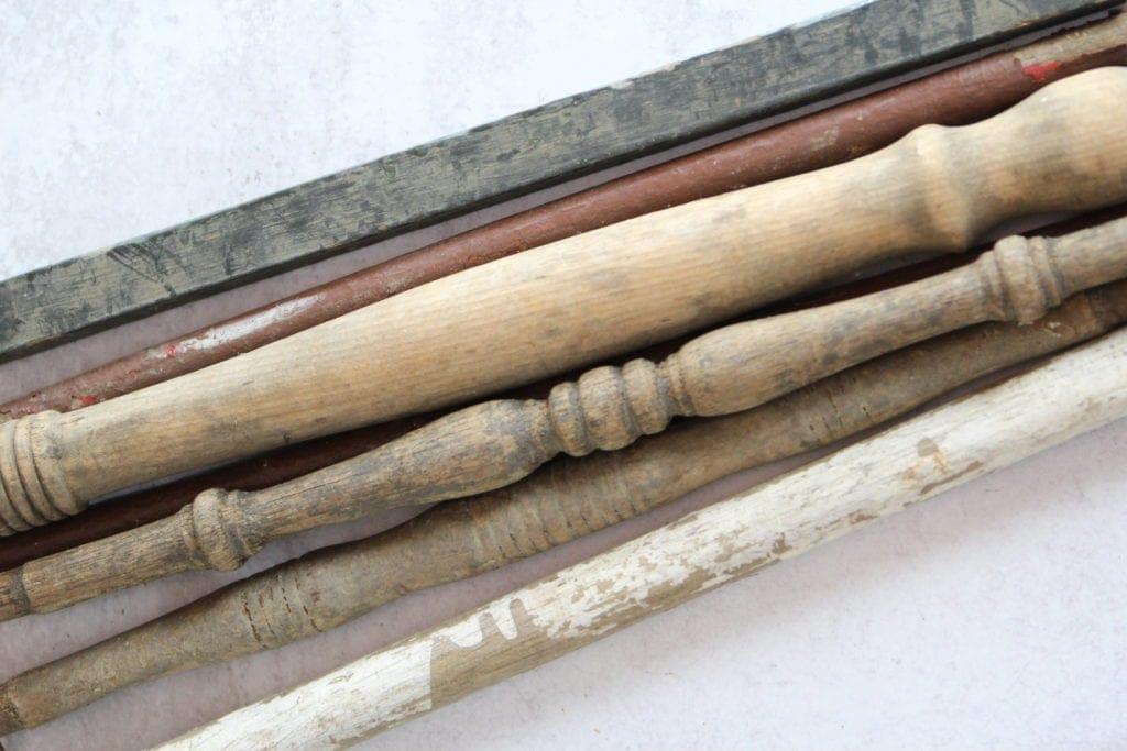 old wood spindles