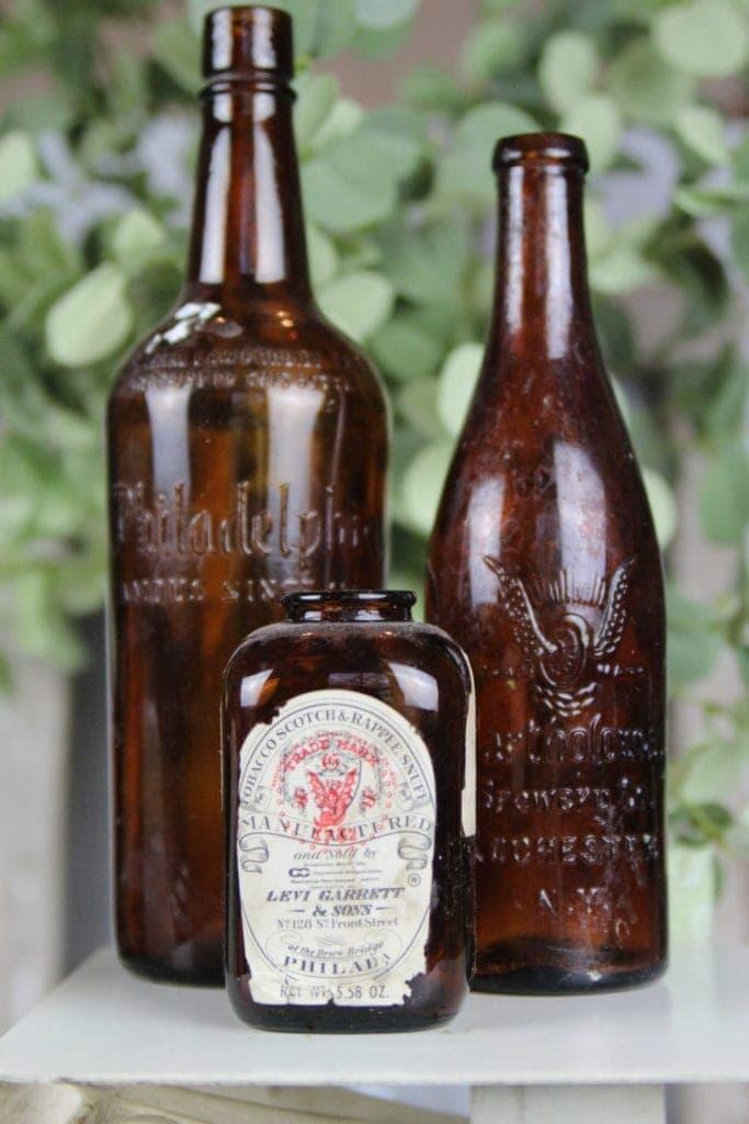 Old amber bottles