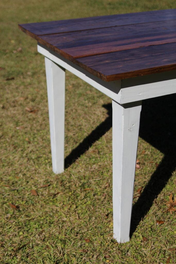 Farmhouse table painted with milk paint