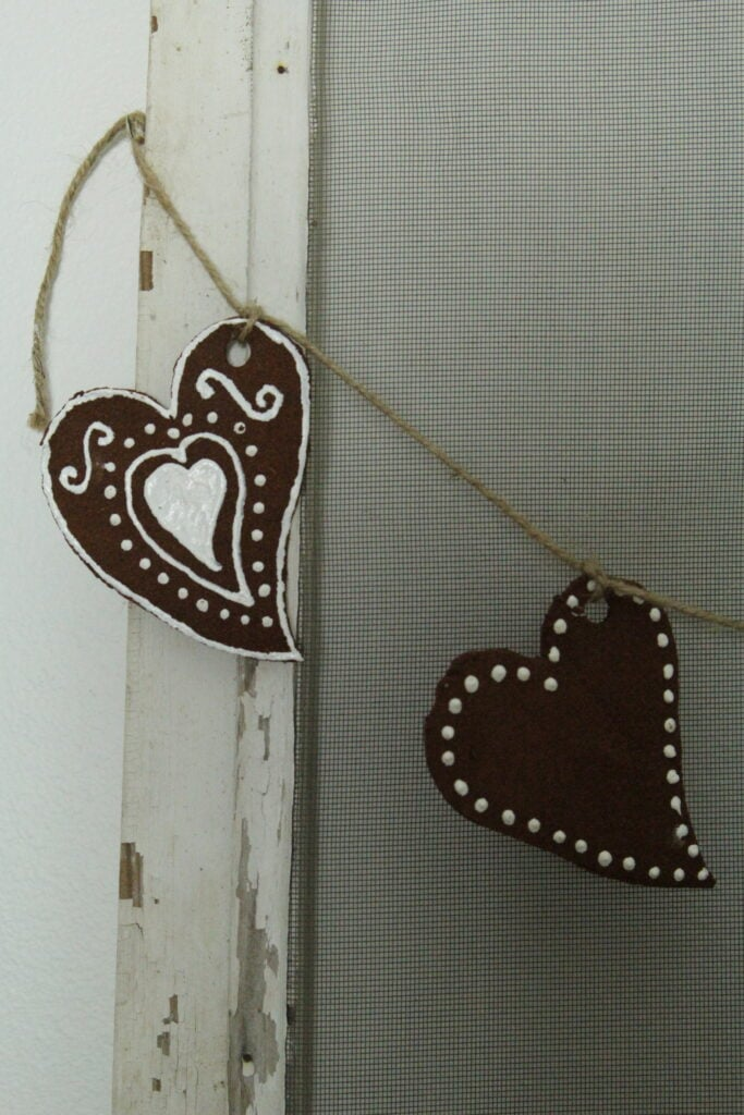 Handmade Valentine heart bunting with twine