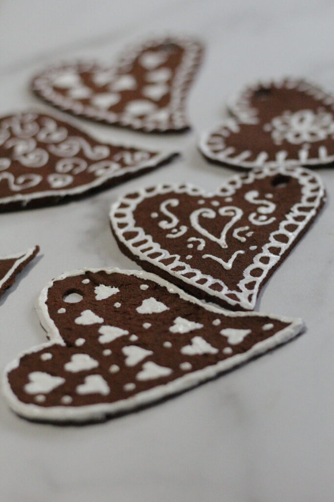 Decorated hearts for a handmade valentine bunting